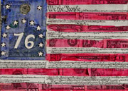 American Flag Mixed Media Originals - The Bennington flag  by Karen Serfinski