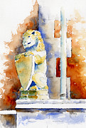 Gargoyle Paintings - The Bessborough Lion by Pat Katz