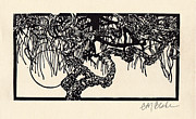 Linocut Metal Prints - The Bethlehem Tree Metal Print by Glenda Blake