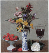 Rose Wine Paintings - The Betrothal Still Life by Henri Fantin-Latour