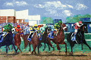 Horse Racing Prints Posters - The Bets Are On Again Poster by Anthony Falbo