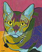 Cat Art Paintings - The Better Half by David  Hearn