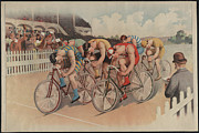 Bicycle Race Framed Prints - The Bicycle Race 1895 Framed Print by Digital Reproductions