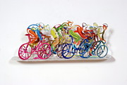 Sports Art Sculpture Originals - The Bicycle Riders  by Marina Zlochin