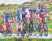Bicyclists Prints - The Bicyclists Print by GretchenArt FineArt