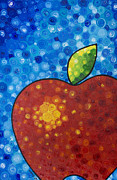 Food And Beverage Painting Originals - The Big Apple - Red Apple By Sharon Cummings by Sharon Cummings