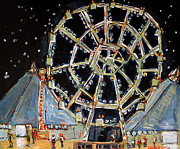 Fairs Paintings - The Big Ferris Wheel Of Life No.3 by Charlie Spear