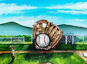 Baseball Painting Framed Prints - The Big Leagues Framed Print by Shana Rowe