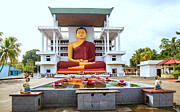 Yellow Art - The big sitting buddha in Matara on the tropical island of Sri Lanka by Regina Koch