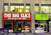 Streetscenes Paintings - The Big Slice Pizzeria Downtown Toronto Restaurants Doner Kebob House Street Scene Painting Cspandau by Carole Spandau
