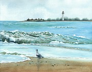 Gull Paintings - The Big Wave by Barbara Jewell