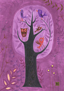 Kids Art Drawings Posters - The Bird Tree Poster by Kate Cosgrove