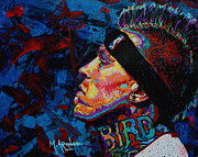 Athlete Painting Metal Prints - The Birdman Chris Andersen Metal Print by Maria Arango