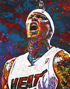 Miami Heat Framed Prints - The Birdman Framed Print by Maria Arango