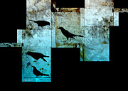 Teal And Black Mixed Media Prints - The Birds abstract - art Print by Ann Powell