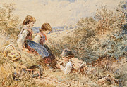 Siblings Paintings - The Birds Nest by Myles Birket Foster