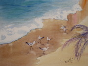 Wet Fly Painting Prints - The Birds of Playa Marinero Print by Mohamed Hirji