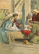 Christmas Cards Paintings - The Birth of Christ by English School