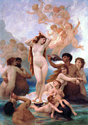 Bouguereau; William-adolphe (1825-1905) Paintings - The Birth Of Venus by William-Adolphe Bouguereau 