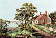 Boats Drawings - The Birthplace of Washington at Bridges Creek by Currier and Ives