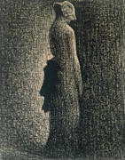 Ribbon Drawings Prints - The Black Bow Print by Georges Pierre Seurat