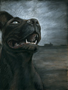 Dog Walking Pastels Prints - The Black Dog Print by Mark Zelmer