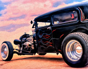 Rat Rod Painting Posters - The Black Ghost Poster by Michael Pickett