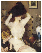 Woman In A Dress Metal Prints - The Black Hat Metal Print by Frank Benson
