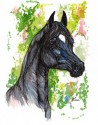 Horses Drawings - The Black Horse 1 by Angel  Tarantella
