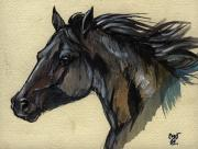 Horse Drawings Posters - The Black Horse Poster by Angel  Tarantella