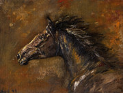 Wild Horse Metal Prints - The Black Horse Oil Painting Metal Print by Angel  Tarantella