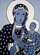 Religious Artist Painting Posters - The Black Madonna In Blue Poster by John  Nolan