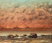 Beach Sunset Paintings - The Black Rocks at Trouville by Gustave Cobert