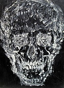 Human Skeleton Paintings - THE BLACK SKULL - oil portrait by Fabrizio Cassetta