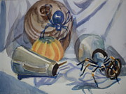 Tarantula Paintings - The Black Widow and Tarantula Crawl Out of Their Lairs by Margaret Montgomery