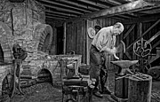 Horseshoes Posters - The Blacksmith monochrome Poster by Steve Harrington
