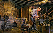 Horseshoes Framed Prints - The Blacksmith oil Framed Print by Steve Harrington