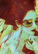 Mystical Mixed Media Prints - The Bleeding Dream - Self Portrait Print by Jaeda DeWalt