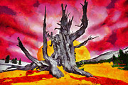 Full Moon Paintings - The bleeding tree by George Rossidis