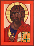 Jesus Christ Icon Prints - The Blessing Christ Print by Rebecca LaChance Iconography