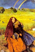 Country Scene Digital Art Framed Prints - The Blind Girl Framed Print by John Everett Millais