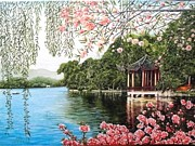 Sakura Paintings - The blooming Sakura by Sergey Selivanov