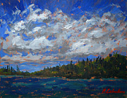 National Parks Paintings - The blue bay by Monica Caballero