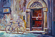 Cityscapes Painting Originals - The Blue Bicycle by David Lloyd Glover
