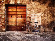 Bicycling Tuscany Framed Prints - The blue bicycle in Buonconvento Framed Print by Roberto Pastrovicchio