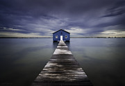 Water Posters - The Blue Boatshed Poster by Leah Kennedy