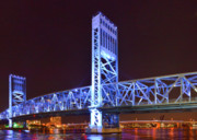 Night Time Framed Prints - The Blue Bridge - Main Street Bridge Jacksonville Framed Print by Christine Till