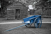 Cart Photo Prints - The Blue Cart Print by Carol Ann Thomas