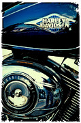 Classic Cycle Posters - The Blue Chopper Poster by David Patterson