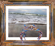 Blue Claws Posters - The Blue Crab Poster by Betsy A Cutler East Coast Barrier Islands